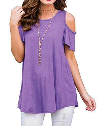 YOUAIHAO Women's Short Sleeve Casual Round Neck Loose Tunic Top Blouse T-Shirt (XL, 07 Light Purple) (Womens 07 T-shirt)
