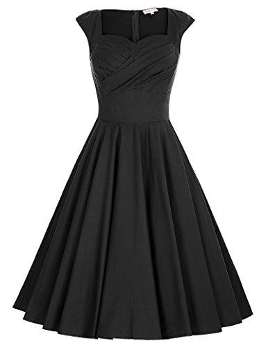 40s Rayon Dresses (Belle Poque Audrey Hepburn 1940s Vintage Dress Pleated Bodice Black Size M BP187-1)