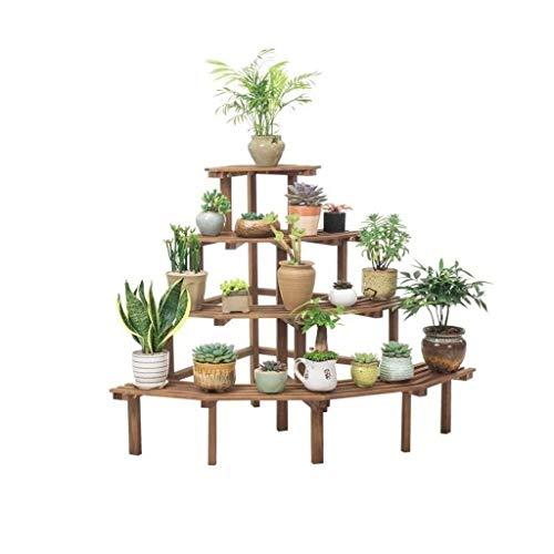 4-layer Flower Rack Ladder, Wooden Floor Stand, Indoor or Outdoor Living Room Balcony Flower Pot Rack, Decorative Anti-corrosion Rack