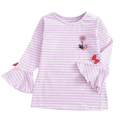 Sunhusing Adorable Little Girls Striped Pleated Long-Sleeve T-Shirt Bottoming Shirt Cute Wild Top Purple ()