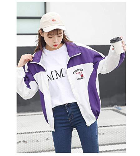 Chic Autunno Eleganti Baseball Moda Cute Bavero Cerniera Outdoor Giacca Giaccone Sciolto Con Donna Fidanzato Primaverile Outerwear Casuale Lunga Lila Cappotto Manica Stile nwC0qFxRX7