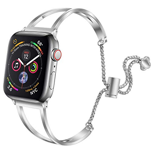 hooroor Bracelet Compatible for Apple Watch Band 38mm 40mm, Feminine Bangle Cuff with Clover Pendant for iWatch Bands Series 4 3 2 1 Stainless Steel Metal Wristband Strap, Silver-38mm ()