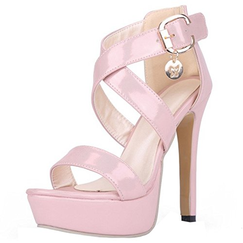 TAFFEN Mujer Zapatos Moda Tacon De Aguja Punta Abierta Plataforma Sandalias De Hebilla Rosado