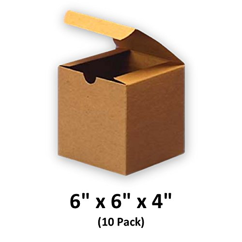 Brown Cardboard Kraft Tuck Top Gift Boxes with Lids, 6x6x4 (10 Pack) for Gifts, Crafting & Cupcakes | MagicWater (Brown Gift Box)