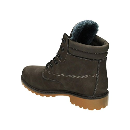 King Of Shoes Trendige Damen Stiefeletten Worker Schnürboots Outdoor Wander Stiefel Schuhe Bequem 46 Grau