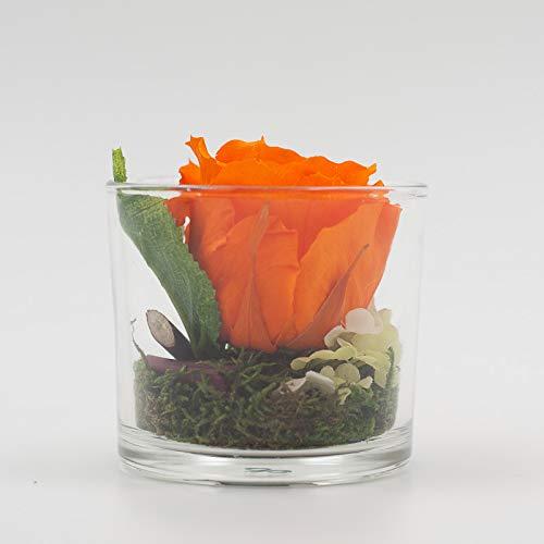 Centro de mesa con una rosa naranja (conservada) en un vaso ...