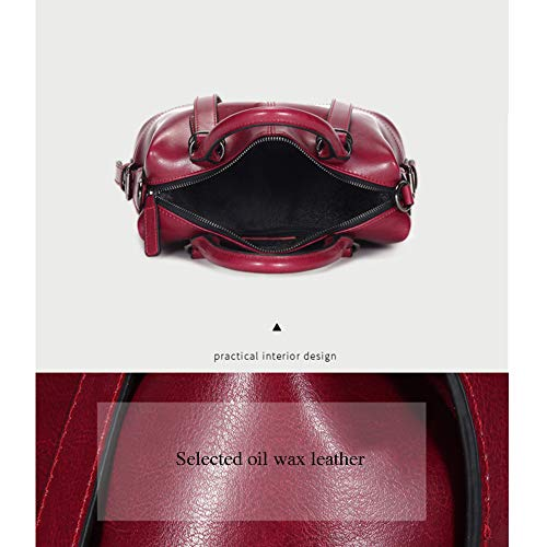 LH-NAUGHTY damhandväska mode vild läder damväska vintage olja vax läder axelväska axelremsväska, 30 x 13 x 23 cm (L x B x H), A