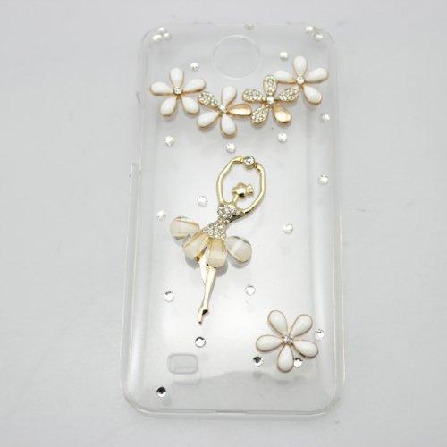 bling 3D case peacock diamond crystal hard back cover for HTC Desire 300 (girl flower)