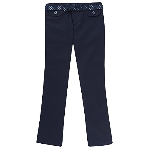 Girls Belted Twill Pants (French Toast Big Girls' Twill Straight Leg Belted Pant, Navy, 16)