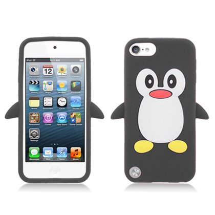 iPod Touch 5th and 6th Generation Case, Soft Rubber Silicone Gel Jelly Cover by MEGATRONIC - Penguin/Black [With FREE Stylus Pen + Anti Scratch Clear LCD Screen Protector + Microfiber Cleaning Cloth] (Ipod 5 Jelly Silicone Cases compare prices)