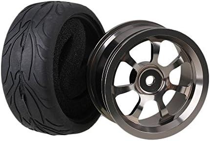 Mxfans 4個入れ RC1:10オンロードカーのため グレー アルミ合金 7スポーク ホイールリム & ブラック 魚スケールパターンラバー タイヤ