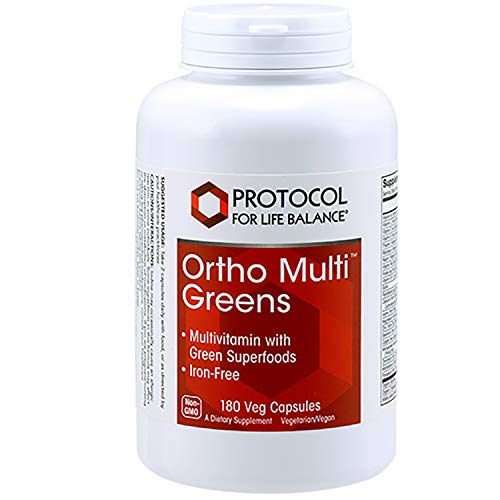 Protocol For Life Balance - Ortho Multi Greens - Multivitamin with Green Superfoods, Mix of Organic Spirulina, Chlorella, Alfalfa, Green Tea Extract, & More (Iron-Free) - 180 Veg Capsules