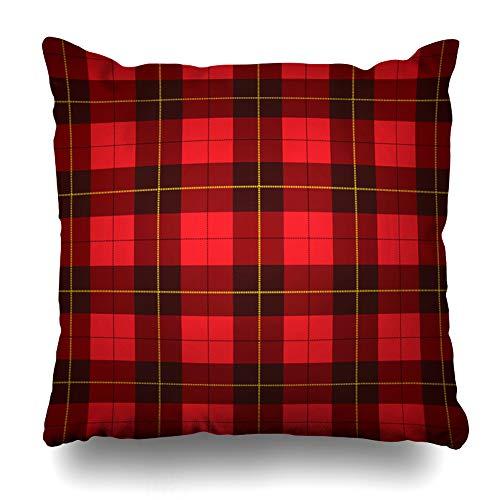 (NOWCustom Throw Pillow Cover Checks Red Pattern Wallace Tartan Scottish Plaid Scotland Yellow Kilt Black Wool Fiber Zippered Pillowcase Square Size 18 x 18 Inches Home Decor Pillow Case)