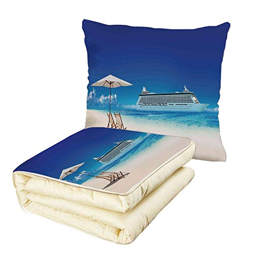 iPrint Quilt Dual-Use Pillow Seaside Decor Summer Beach Cruise Boat Trip Tourism Transportation Tranquil Nautical Outdoor Picture Multifunctional Air-Conditioning Quilt Blue ()