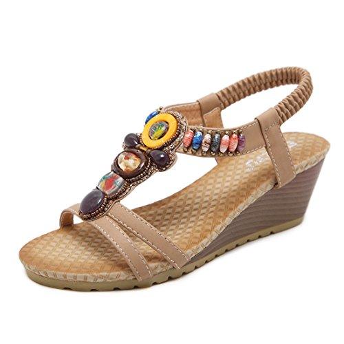 Beeded Abricot de pour Chaussures Women Bohemian Cale Sandales Dames Ruiren D'été des qfwZtTWPP