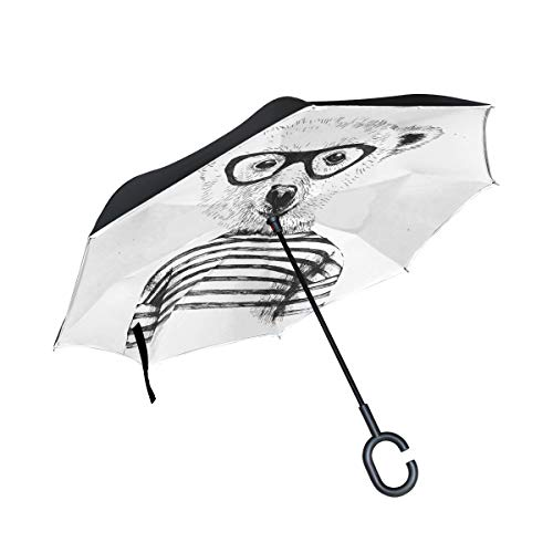Patio Umbrella Glasses Bear Cartoon Style Straight Inverted Umbrella Double Layer Umbrella Picnic Camping For Women Kids With C-shaped Handle Rain Umbrellas