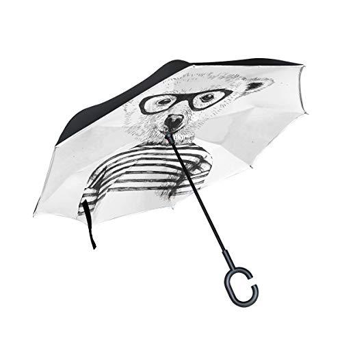 Patio Umbrella Glasses Bear Cartoon Style Straight Inverted Umbrella Double Layer Umbrella Picnic Camping For Women Kids With C-shaped Handle Rain Umbrellas (1690 Double Handle)