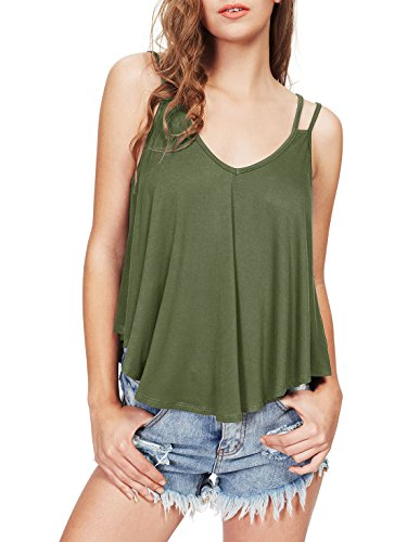 MakeMeChic Women's Flowy V Neck Strappy Loose Tank Tops Cami Blouse Green M by MakeMeChic