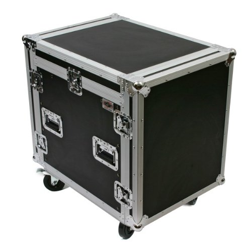 OSP Cases | ATA Road Case | 10-Space Amplifier Rack with 12-Space Mixer Slant | MC12U-10