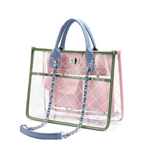 LOVEVOOK Clear Tote Bag With Turn Lock Closure Girly PVC Shoulder Bag Pink-Green