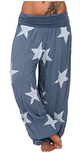Comaba Women's Oversize Training Pure Star Printed Capri Legging Light Blue L (Star Pocket Ri)