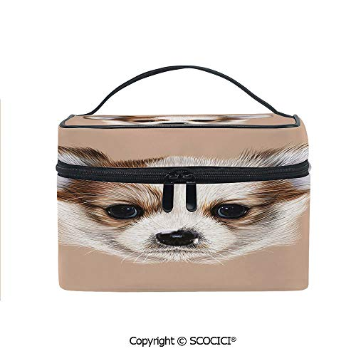 (Printed Portable Travel Makeup Cosmetic Bag Puppy Portrait Cute Little Furry Friend Dog Pet Graphic Art Durable storage bag for Women Girls)