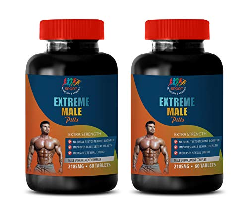 Men Fertility Supplement with libido Booster - Extreme Male Pills - Extra Strength - tribulus terrestris Extract Testosterone - 2 Bottles 120 Tablets by Sport Nutrition & Vitamins USA