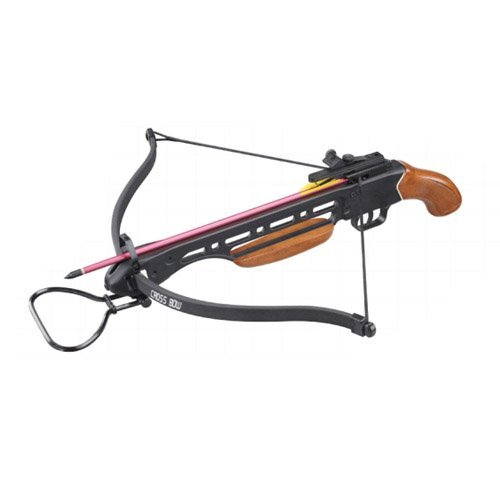 Wizard Archery 150lbs Short Stock Pistol Wood Crossbow with 4x20 Scope + 8 x Arrows and Rope Cocking Device (Wood)