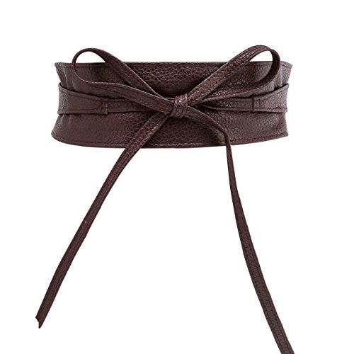 (CHIC DIARY Fashion Women Faux Leather Bow Tie Waistband Elastic Stretch Waist Strap Cummerbund Waist Band Belt for Dress (Coffee))