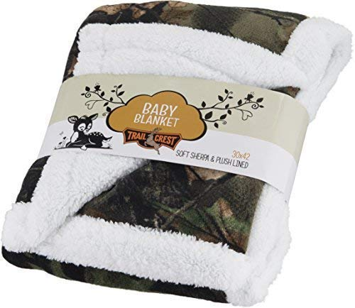 Baby Infant Camo Accent Soft Sherpa and Plushed Lined Coral Fleece Gift Blanket (Everest White) ()