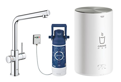 (GROHE 30327001 Red 2.0 Duo Tap, Supersteel, 4 Litre Boiler)