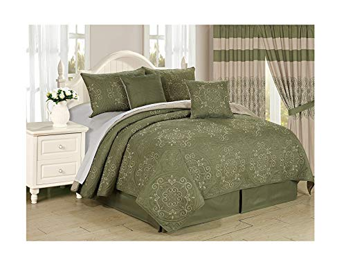 All American Collection New 6pc Circle Reversible Embroidered Bedspread/Quilt Set (Cal King 6pc, ()