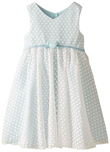Marmellata Little Girls' Dot Flocked Dress, Blue, 3T ()