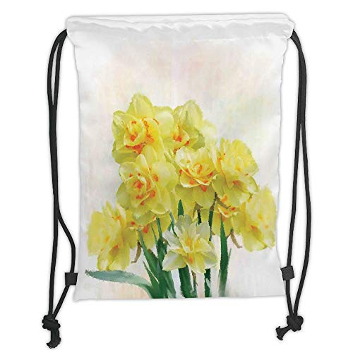 Daffodil,Digital Watercolors Paint of Daffodils Bouquet Called Jonquils in England Lily,Yellow Green Soft Satin,5 Liter Capacity,Adjustable String Closure