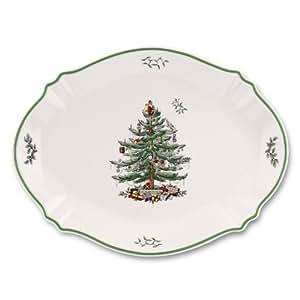 Spode Christmas Tree Christmas Tree Oval Platter Cream/Green