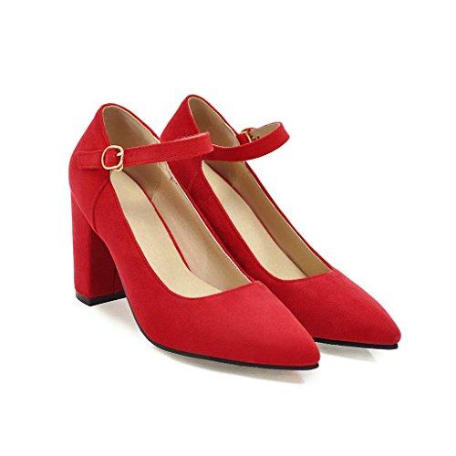 amp;X Superficial Toe del Las Bloque Zapatos Mujeres Talón Señaló Boca Rojo Qin OvSwdqv