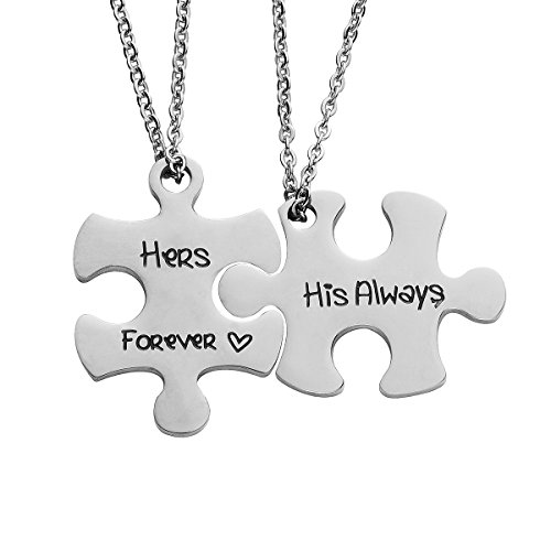 omodofo Valentine's Day His and Hers Puzzle Piece Pendant Necklace/KeyChain Set Personalized Couples Stainless Steel Hand Stamped Gift Jewelry Chain/Keyring (His always & Hers forever (Necklace)) by omodofo