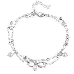 MOONQING Sweet Multilayer Bracelet Infinity Symbol Bracelet Imitation Pearl Pendant Bracelet,Silver