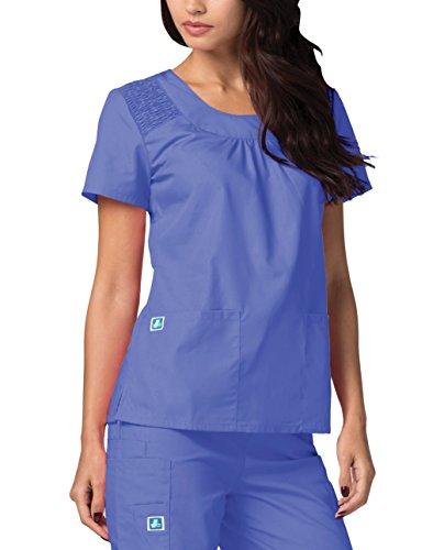 Adar Medical Women's Scoop Neck Smocked Solid Top - 627 - Ceil Blue - ()