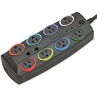 SmartSockets Std Color-Coded Adapter Surge Protctr, 8 Outlets, 8ft Cord