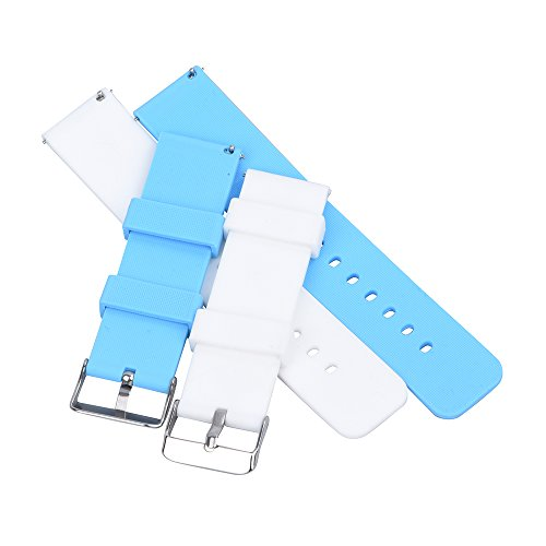 Light Blue Rubber Strap - RANDON Quick Release Silicone Watch Bands Soft Rubber Watch Strap for Smart Watch,Pack of 2 (White/Sky Blue, 20)