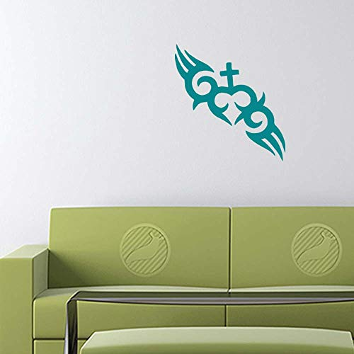 Cross Decal Sticker (Turquoise, 12 inch Reversed) Removable Vinyl b20489