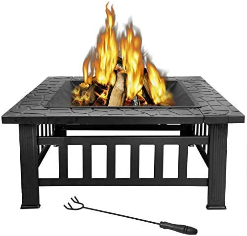 LEMY 32 inch Outdoor Square Metal Firepit Backyard Patio Garden Stove Wood Burning BBQ Fire Pit