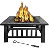 LEMY 32 inch Outdoor Square Metal Firepit Backyard Patio Garden Stove Wood Burning BBQ Fire Pit with Rain Cover, Faux-Stone F