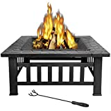 LEMY 32 inch Outdoor Square Metal Firepit Backyard