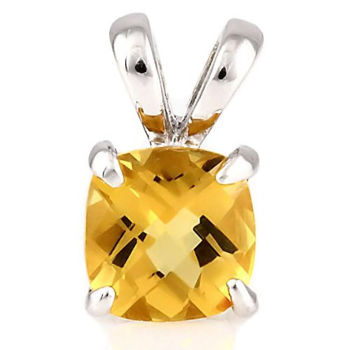 Solstice: 3.25ct Cushion-cut Simulated Citrine Solitaire Pendant 925 Sterling Silver, 0016