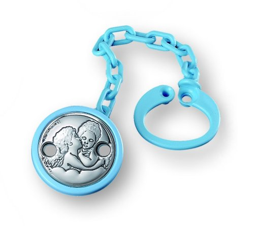 Silver Touch USA Pack Of 6 Pacifier Clip Holder and Leash with Sterling Silver Angels, Blue by Silver Touch USA