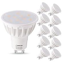 LOHAS GU10 LED Light Bulbs, 50 Watt Light Bulb Equivalent Recessed Lighting, LED 6W 3000K Soft White Lights, 120 Degree Beam Angle, 120V LED Track Lighting Spotlight (10 Pack)