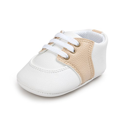 Fire Frog Baby Saddle Shoes for Boys Girl Infant Lace-up Sneakers Khaki 0-6 Months