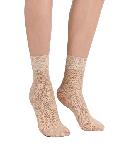 Women's Lace Ankle Socks (One Size : Regular, X Mesh - Skin Beige 3pair)